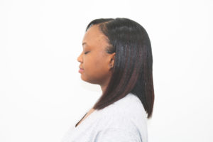 Custom colored tracks / extensions and silkpress on natural hair